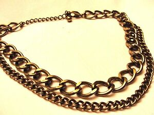 HOT-Heavy-Gold-tone-Metal-Fashion-Necklace-16-034-034-Antiqued-034-Double-Chain-Necklace