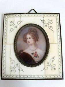 """Ancienne Miniature Tableau De Joseph Karl Stieler """"amelie Kruedener""""-afficher Le Titre D'origine"""