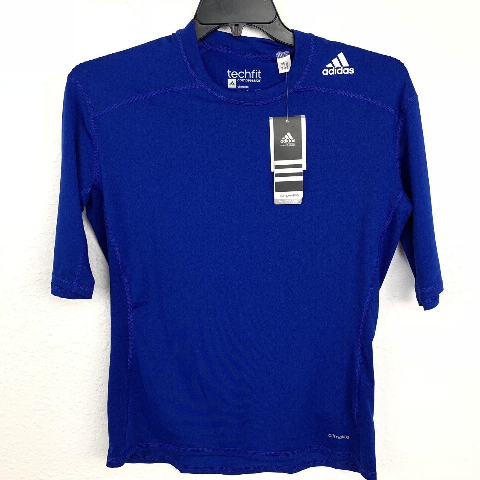 ADIDAS TECHFIT Kompression Climalite Royal Blue Men Tee.Größe XL.NWT.
