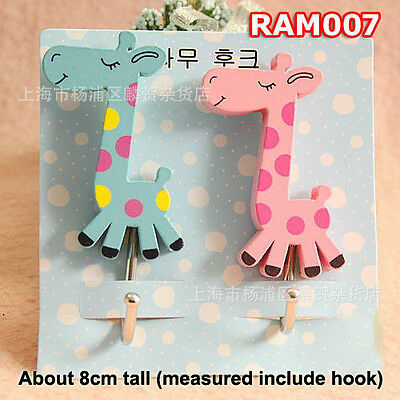 Giraffe Key Hat Bag Coat Wall Door Wooden Hanger Adhesive Sticky Hooks RAM007
