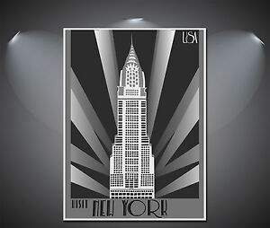 Art Deco Poster New York.Details About New York Art Deco Poster A0 A1 A2 A3 A4 Sizes