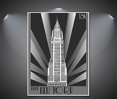 New York Art Deco Poster A0 A2 A1 A3 A4 Sizes