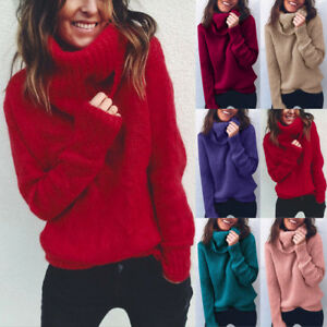 d99edf4ddcc Image is loading Women-Winter-Turtleneck-Baggy-Tops-Chunky-Knitted-Casual-