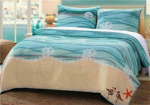 MAUI COASTAL EMBROIDERED ACCENT REVERSIBLE QUILT SHAM TROPICAL BEDDING-2 SIZES
