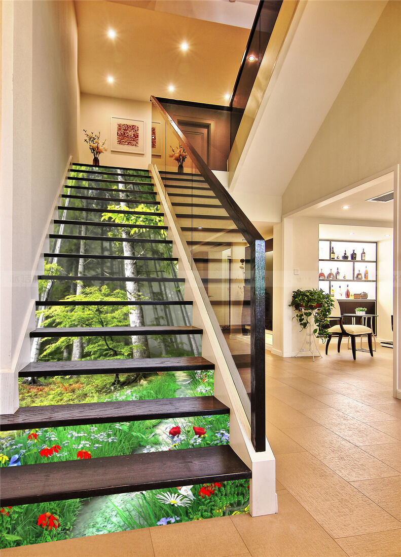 3D Forest Flowers 1 Stair Risers Decoration Photo Mural Vinyl Decal WandPapier AU
