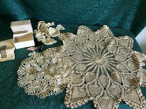 Vintage Completed Hand Made Doilies Lot with instruction and started projects