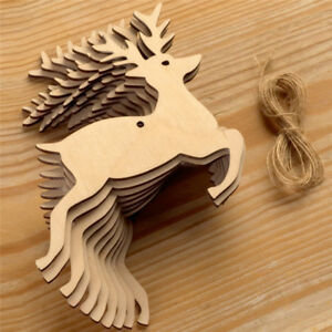 10X-Wood-Hanging-Angel-Christmas-Chip-Deer-Ornaments-Xmas-Decor-Crafts-DIY-HOT