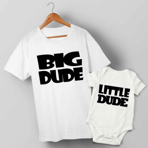Father /& Baby Matching T-shirt /& Baby Grow Set Big Dude /& Little Dude