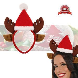 2a65b5533b0e7 Image is loading Christmas-Headbands-Fancy-Dress-Hat-Reindeer-Antlers-Ears-