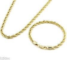 "Men's 14k Gold Plated 24"" Inch 5mm Hip-Hop Dookie Rope Chain & Bracelet Set"