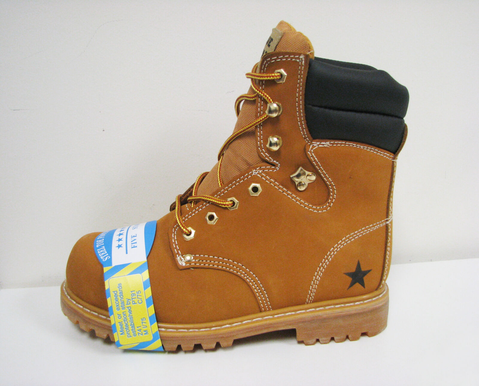 "NIB Men's Steel Toe Work Boots 8"" Tan Nubuck Leather Oil Resistant Winter Shoes"