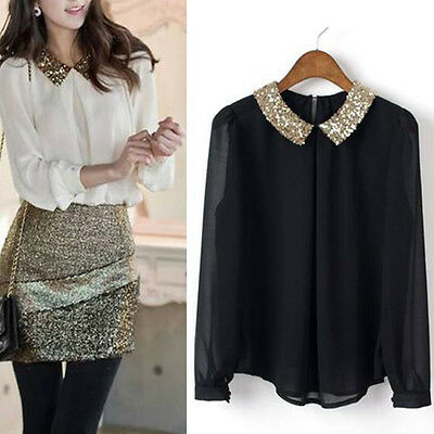 Womens Vintage Sequin Peter Pan Collar Puff Sleeve Sheer Loose Blouse Tops White
