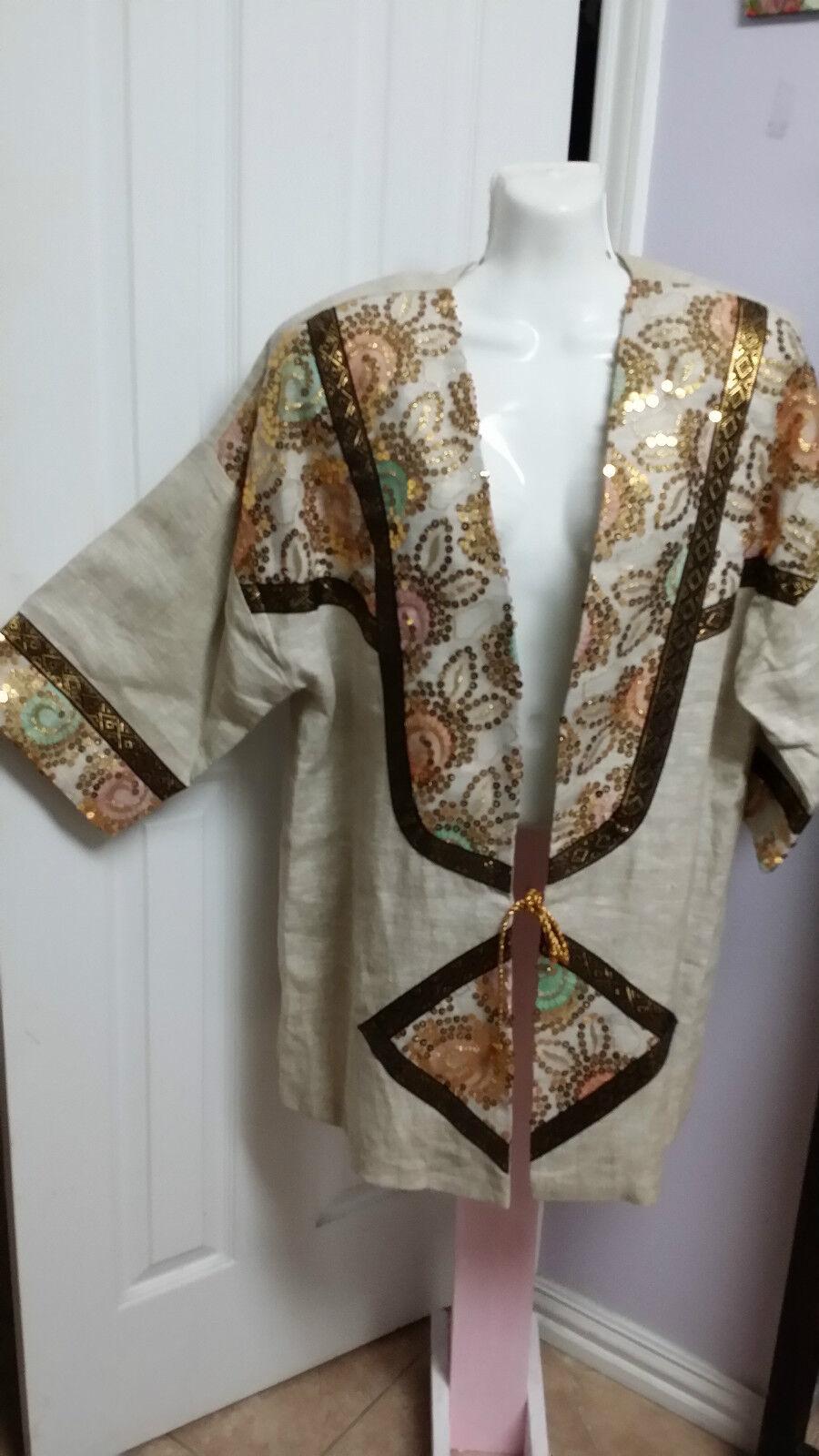 3K Fashion Sequin Embroidered Ivory Linen Kimono Kimono Kimono Cardigan Size L WC822 855cb3