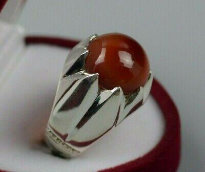 Mens Brown Yemeni Aqeeq Ring Sterling Silver 925 Carnelian Onyx Handmade Ring
