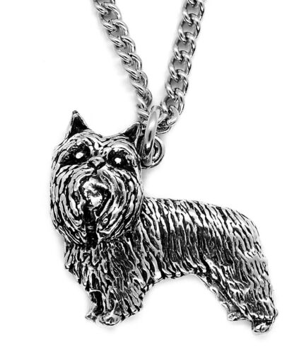 Yorkshire Terrier Pendant with Chain Necklace in Gift Pouch Pewter, Made in UK