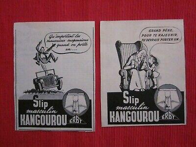 2 Anciennes Publicités Papier Slip Kangourou Erby 1953