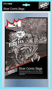 """100 ULTRA PRO SILVER SIZE COMIC BOOK BAGS New Storage 7-1/4"""" x 10-1/2"""" Sleeves"""