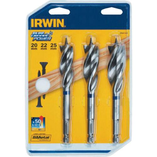 Irwin 10507720 3 Pce Blue Groove Power Bit Set