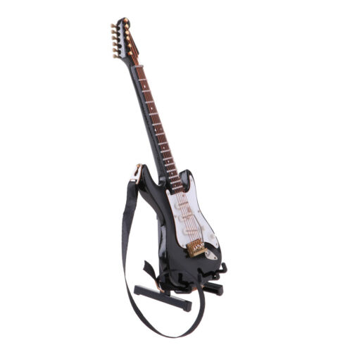 Miniature Black Finish Electric Guitar Replica Hobby Collectibles 1//6 Scale