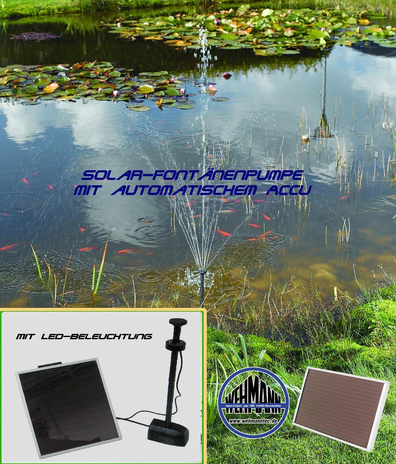 Solar-Springbrunnenpumpe con Accu y Iluminación, con Función Memoria