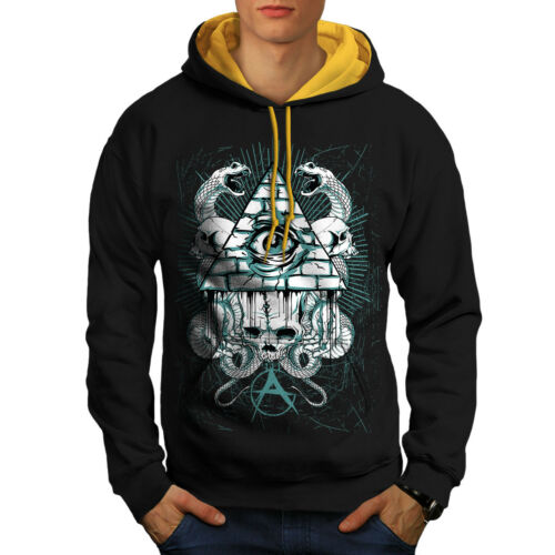 UK Casual Jumper Wellcoda Triangle Snake Fashion Mens Contrast Hoodie
