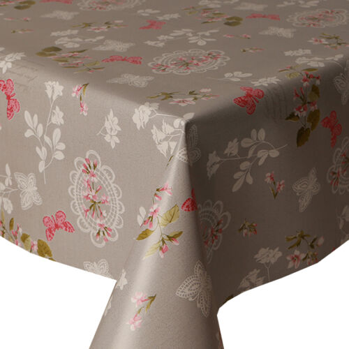 PVC TABLE CLOTH PINK BUTTERFLY FLORAL VINTAGE GREY WIPE CLEAN PROTECTOR VINYL