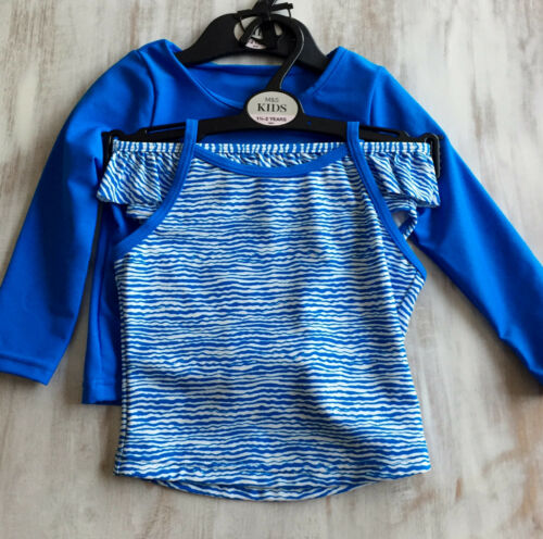 Girls M/&S Kids Age 0-3 Months 3-4 Years 3 Piece Tankini Swim Suit UPF 40