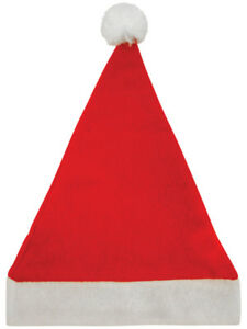 Father Christmas festive felt santa hat Xmas red and white fancy dress bobble
