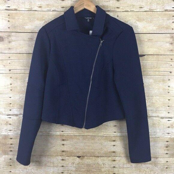 Torrid Knit Moto Peacoat Coat Navy 1X 14 16