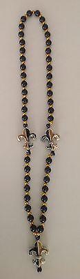 Mardi Gras Fleur De Lis Beaded Necklace in Black and Gold, Novelty