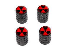 Radioactive on Red - Tire Rim Wheel Valve Stem Caps - Black