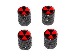 Radioactive-on-Red-Tire-Rim-Wheel-Valve-Stem-Caps-Black