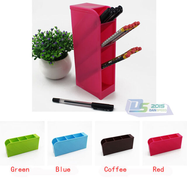 4 Grid Drawers multifunctional Plastic Pen Storage Box Organizer Stationery Case