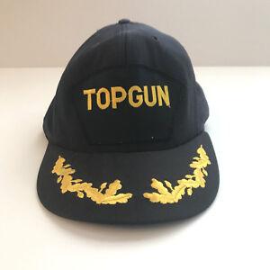 Top-Gun-Mens-Hat-One-Size-Snapback-Dark-Blue-Gold-NAVY-Flat-Bill-VNTG