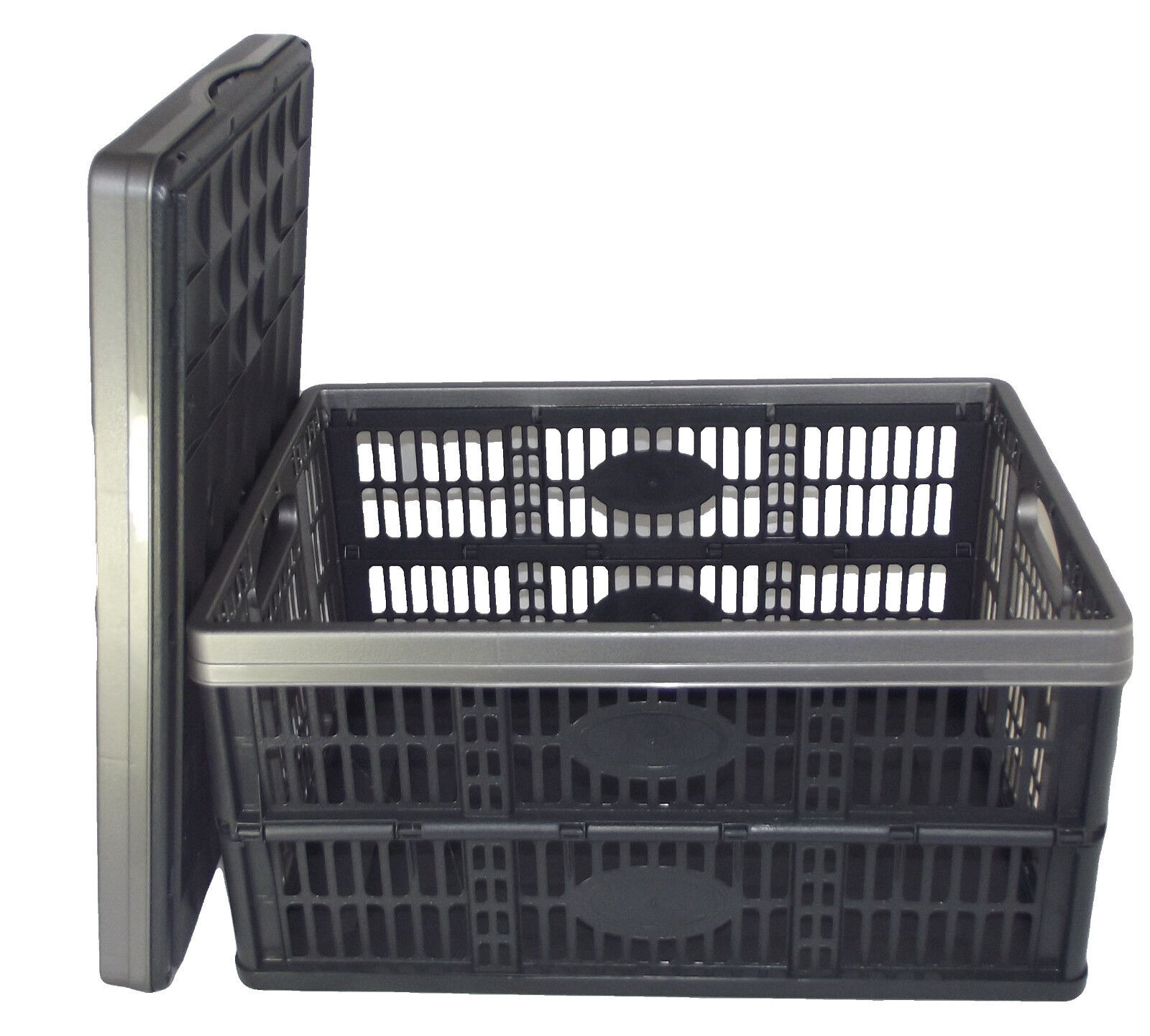 Fold flat plastic storage crate box stackable 32 litre for Re storage crate