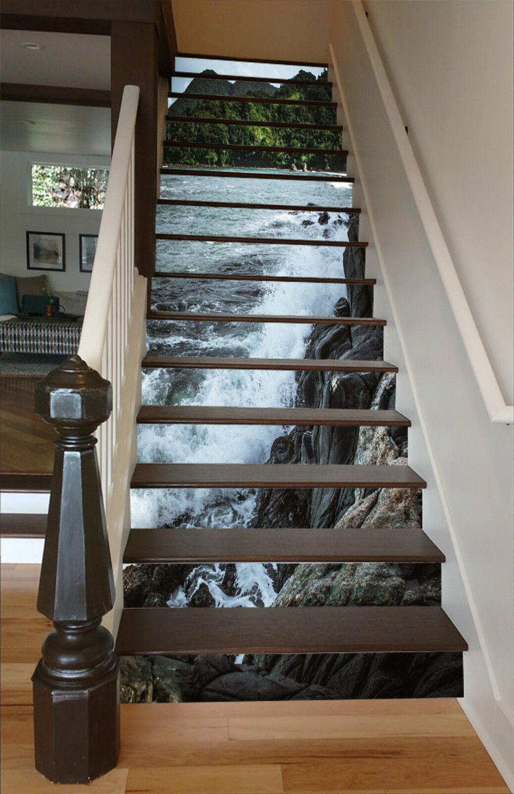 3D Küste Wellen 037 Stair Risers Dekoration Fototapete Vinyl Aufkleber Tapete DE