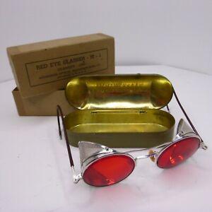 VINTAGE-RO-Red-Lens-SECONDA-GUERRA-MONDIALE-Occhiali-di-sicurezza-Occhiali-da-sole-moto-Steampunk-W