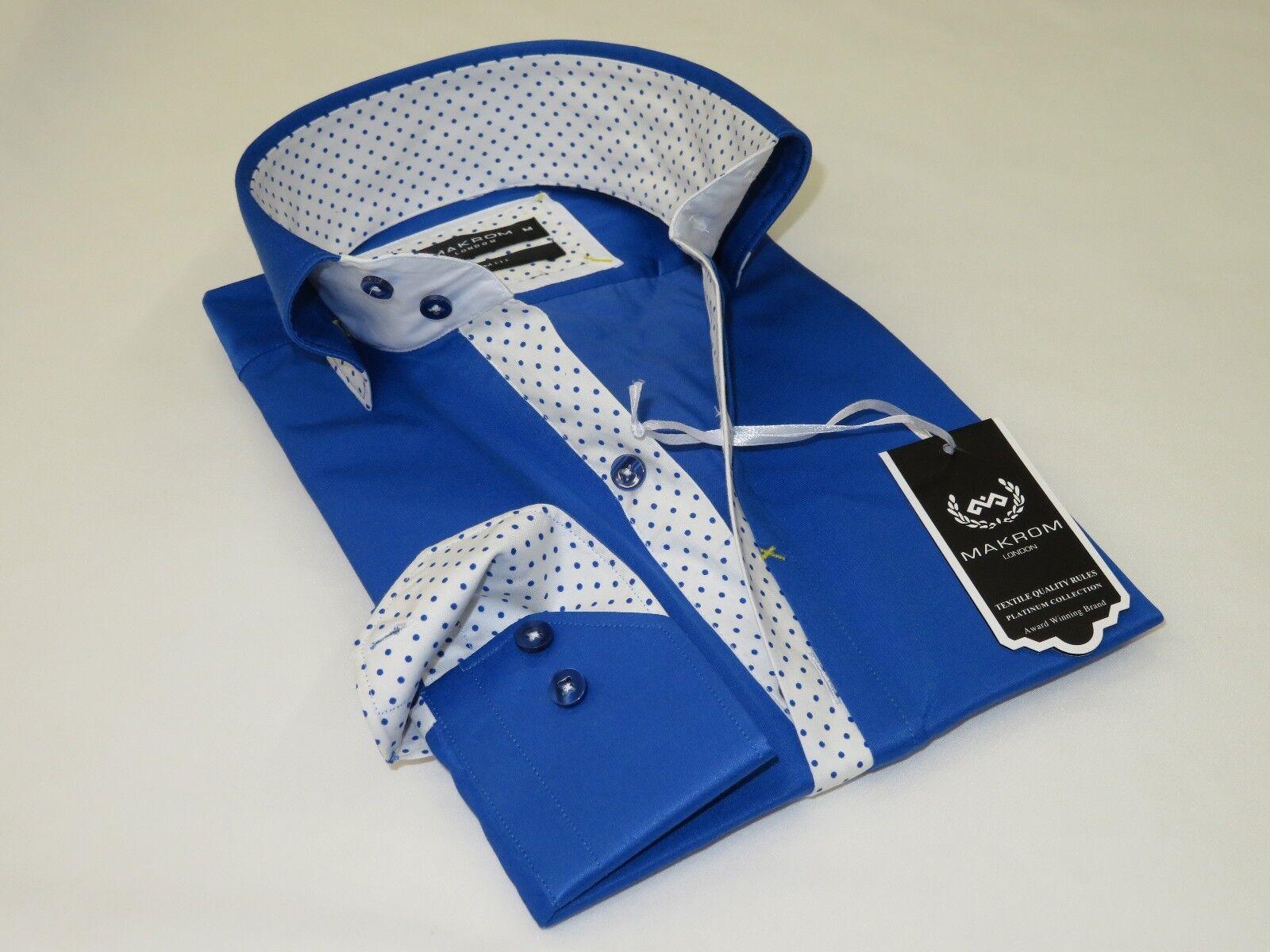 Uomo Uomo Uomo Makrom London Camicia Misto Cotone Pieghe Less 6263-780 Blu Reale a Pois 9b7fe7