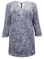 Ivans INP Shop Blue White Paisley plus size 16 18 20 22/24 zip front tunic top