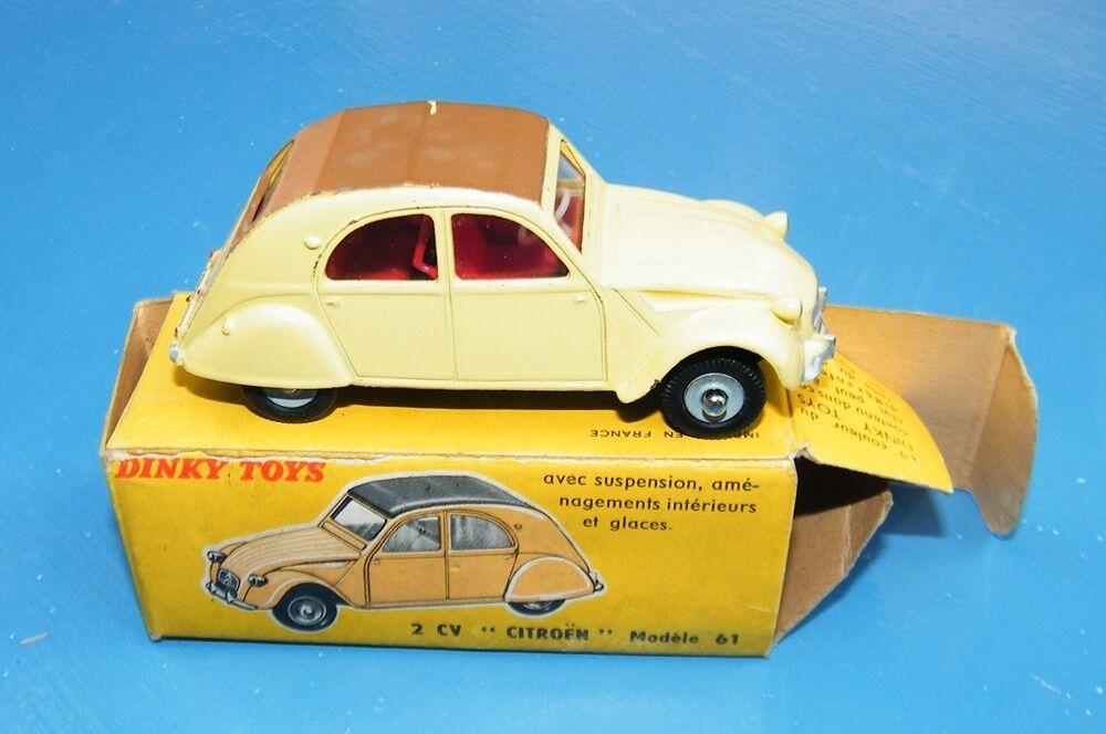 Francés Dinky Toys 558 Citroen 2 Cv giallo Original Ex +