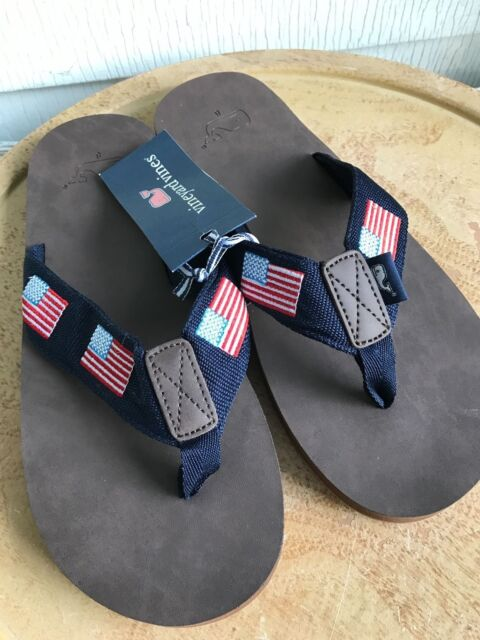 835f70894b4787 NEW VINEYARD VINES NAVY USA FLAGS EMBROIDERED LEATHER FLIP FLOP SANDALS  SIZE 7