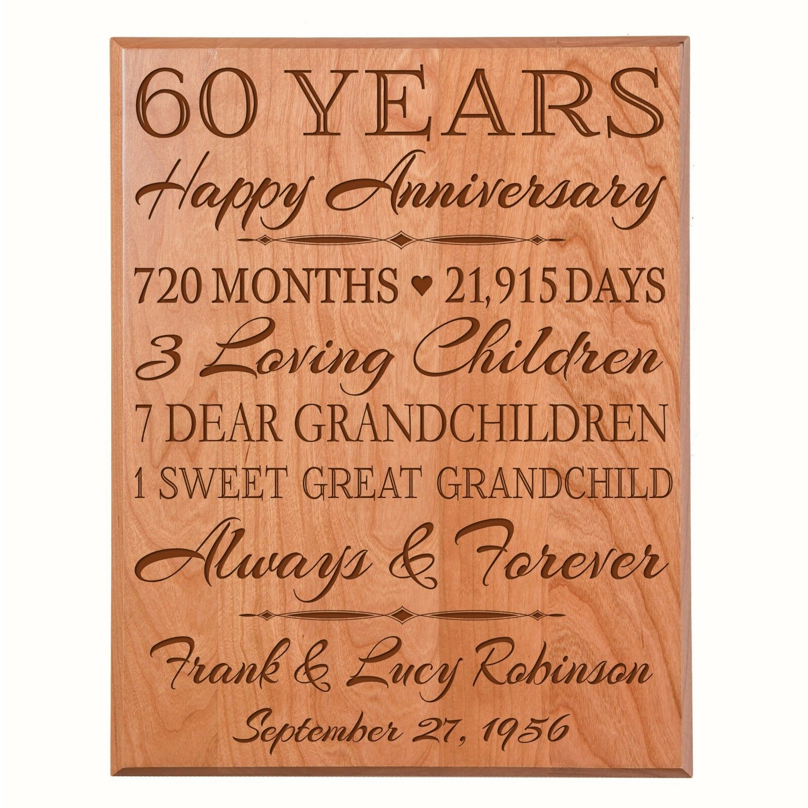 60th Wedding Anniversary Gift Wooden Wall Hanging  Plaque Sign Art Decor