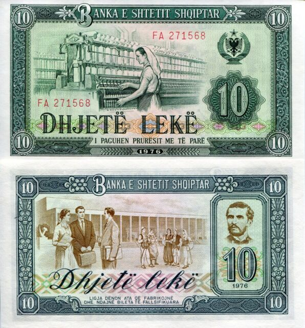 ALBANIA 10 Leke Banknote World Paper Money UNC Currency Pick p43a Bill Note 1976