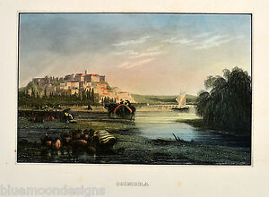 Coimbra-Rio-Mondego-Portugal-Koloriert-Coloured-Original-Antique-Print-ca-1860