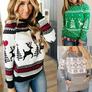Women-Casual-Christmas-Xmas-Santa-Pullover-Sweatshirt-Jumper-Long-Sleeve-Tops