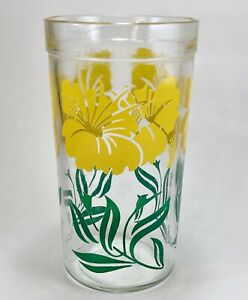 Vintage-Boscul-Peanut-Butter-Drinking-Glass-Yellow-Hibiscus-Flowers-Jar-50s-MCM