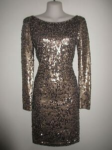 VICTORIA-039-S-SECRET-NWOT-198-Taupe-Bronze-All-Over-Sequin-Knee-Length-Dress-S
