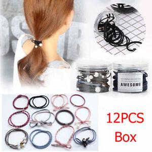 12Pcs-Box-Korea-Ribbon-Bowknot-Hair-Ropes-Rubber-Band-Elastic-Hair-Ties-Bow-New