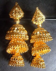 22K Gold Plated Indian Jhumka 2 Steps Traditional Wedding Earrings