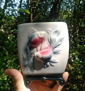 Vintage Royal Copley Ceramic  3D Koi Fish Planter